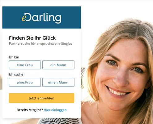 eDarling Partnervermittlung Startseite
